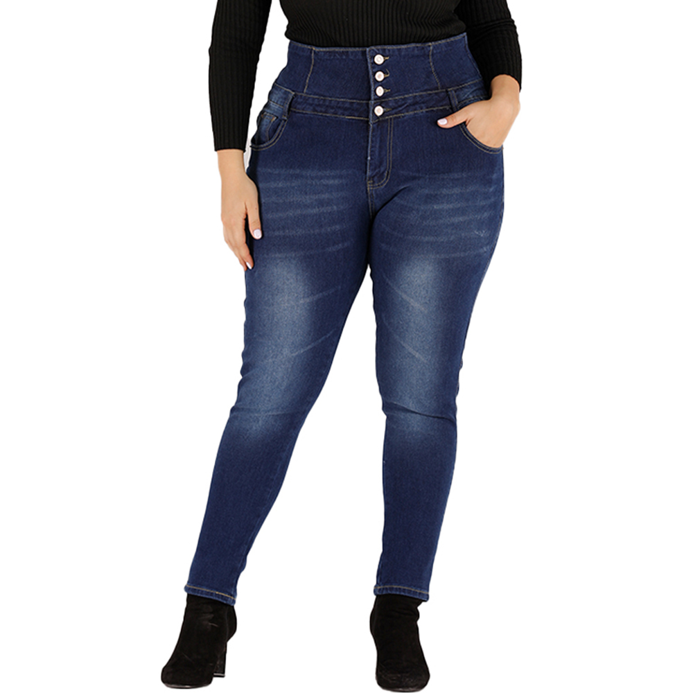 4XL Women Button Winter Jeans Plus Size High Waist Skinny Denim Pants Casual Stretch Pencil Jeans Ladies Calca Feminina D30