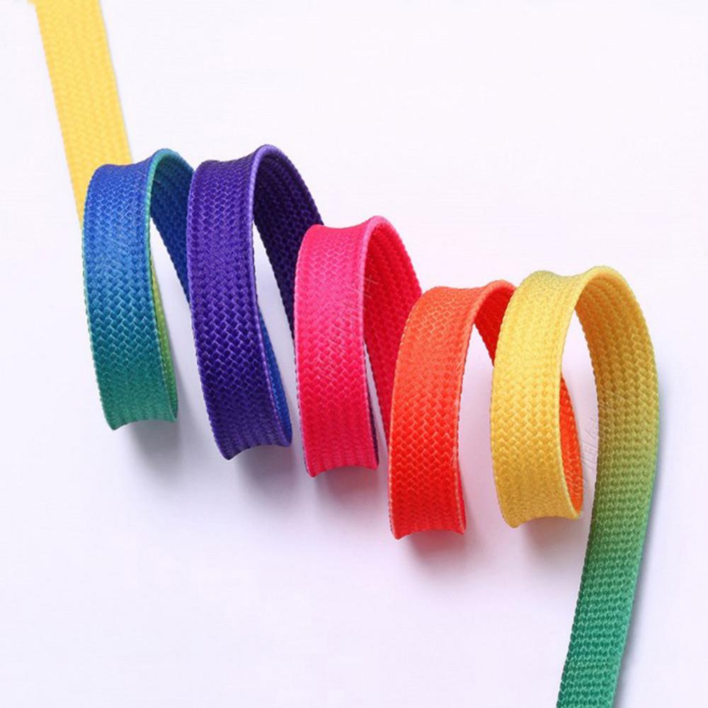Unisex Gradient Flat Shoe Laces Boots Sport Shoe Shoelace Rainbow Canvas Strings Party Camping Shoelaces Casual Sneakers Laces