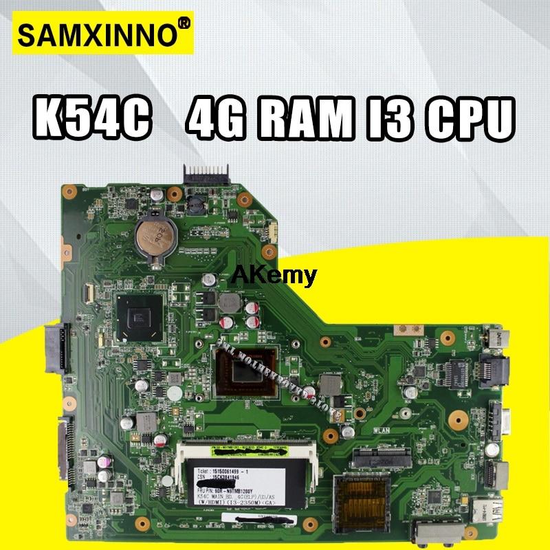 K54C Motherboard I3 CPU 4GB RAM For ASUS K54 K54C X54C Laptop motherboard K54C Mainboard K54C Motherboard test 100% OK|Motherboards| |  - title=