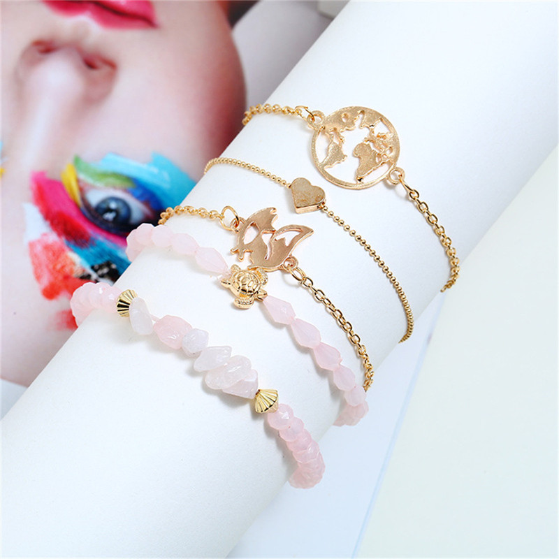 HOCOLE Fashion Stone Bead Bracelet Set For Women Bohemian Gold Color Heart Map Chain Gold Bracelets Party Jewelry Gift Wholesale in Chain Link Bracelets from Jewelry Accessories