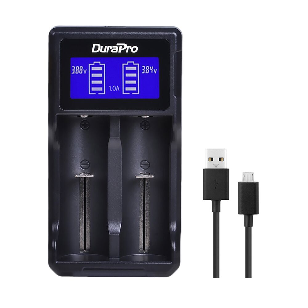 Durapro LCD USB Dual Battery Charger for 26650 22650 18650 18490 18350 17670 17500 16340 (RCR123) 14500 10440 A AA AAA Li-ion