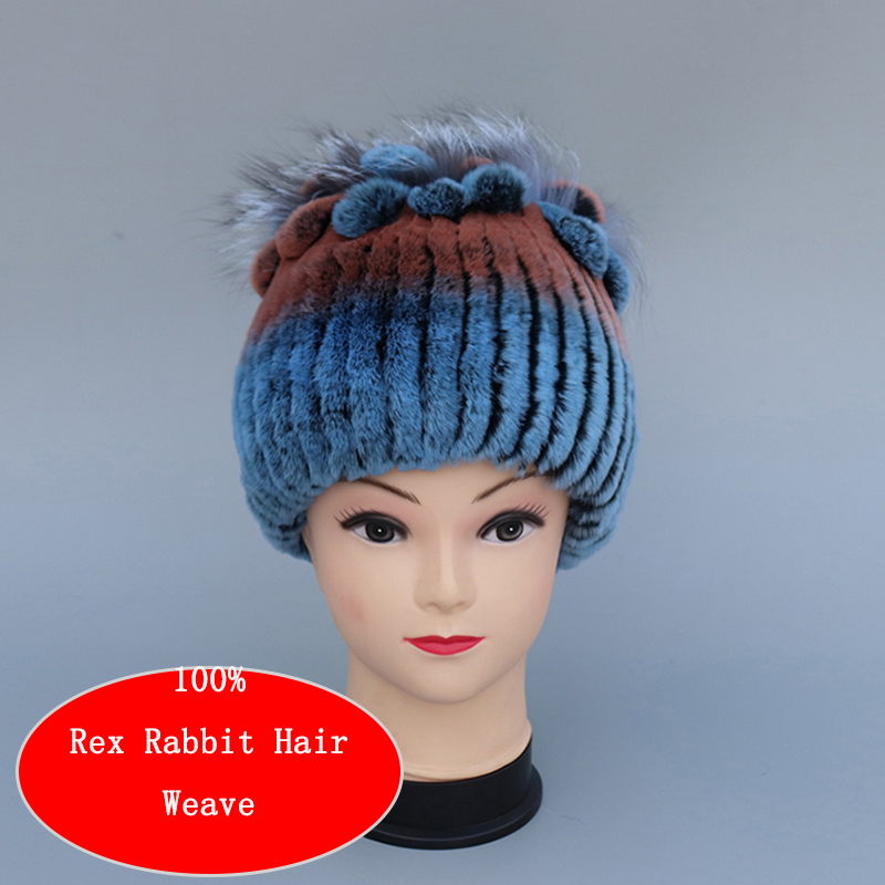 New Style Warm Rabbit Hair Ladies Hat 100% Natural Rex Rabbit Woven Hat Wool Stretch Net Wool Knitted Hat