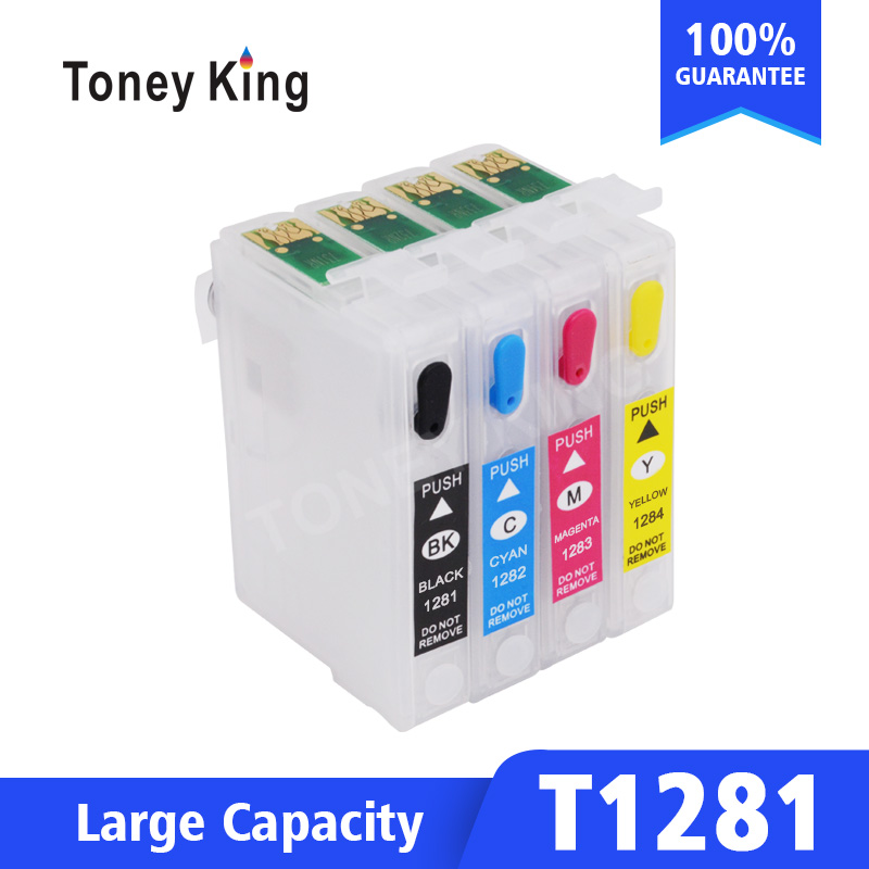 Toney King Refillable Cartridge For Epson T1281 T1282 T1283 T1284 Ink Cartridges For Stylus S22 SX125 SX130 SX230 SX235W Printer