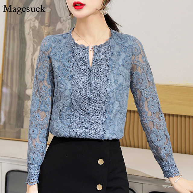 Autumn Fashion Vintage Blouse Women 2021 New Long Sleeve Floral Lace Womens Blouse Office Lady Casual Shirt For Women Tops 11303 1