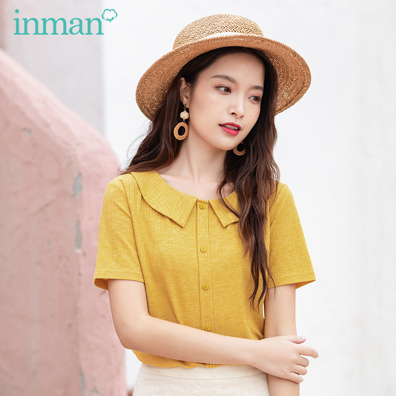 INAMN Summer New Arrival French Style Doll Collar Bow Tie Student Fit Shaped Sweet Tops T-Shirt