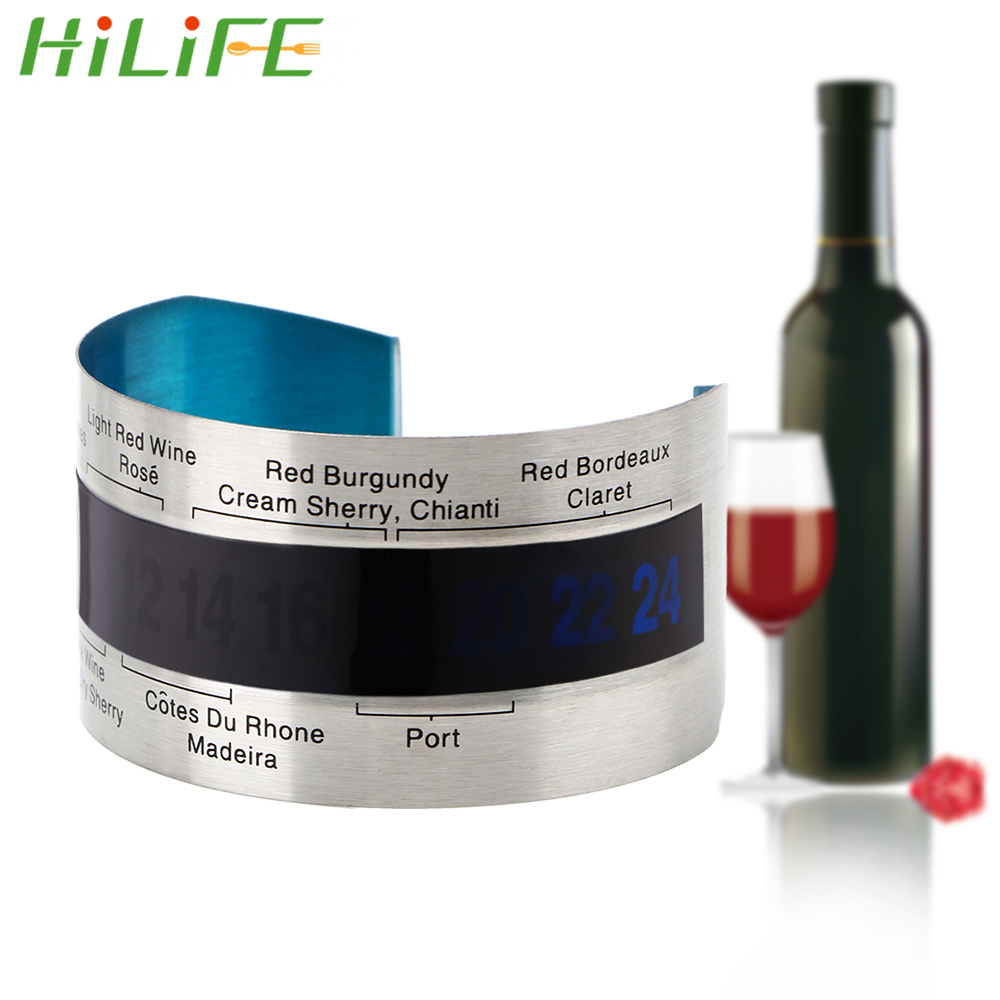 Bottle Wine Thermometer Stainless Steel LCD Display Serving Party Checker Bracelet Thermometer Red Wine Temperature Sensor