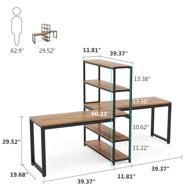 Two Person Computer Desk with Bookshelf 6