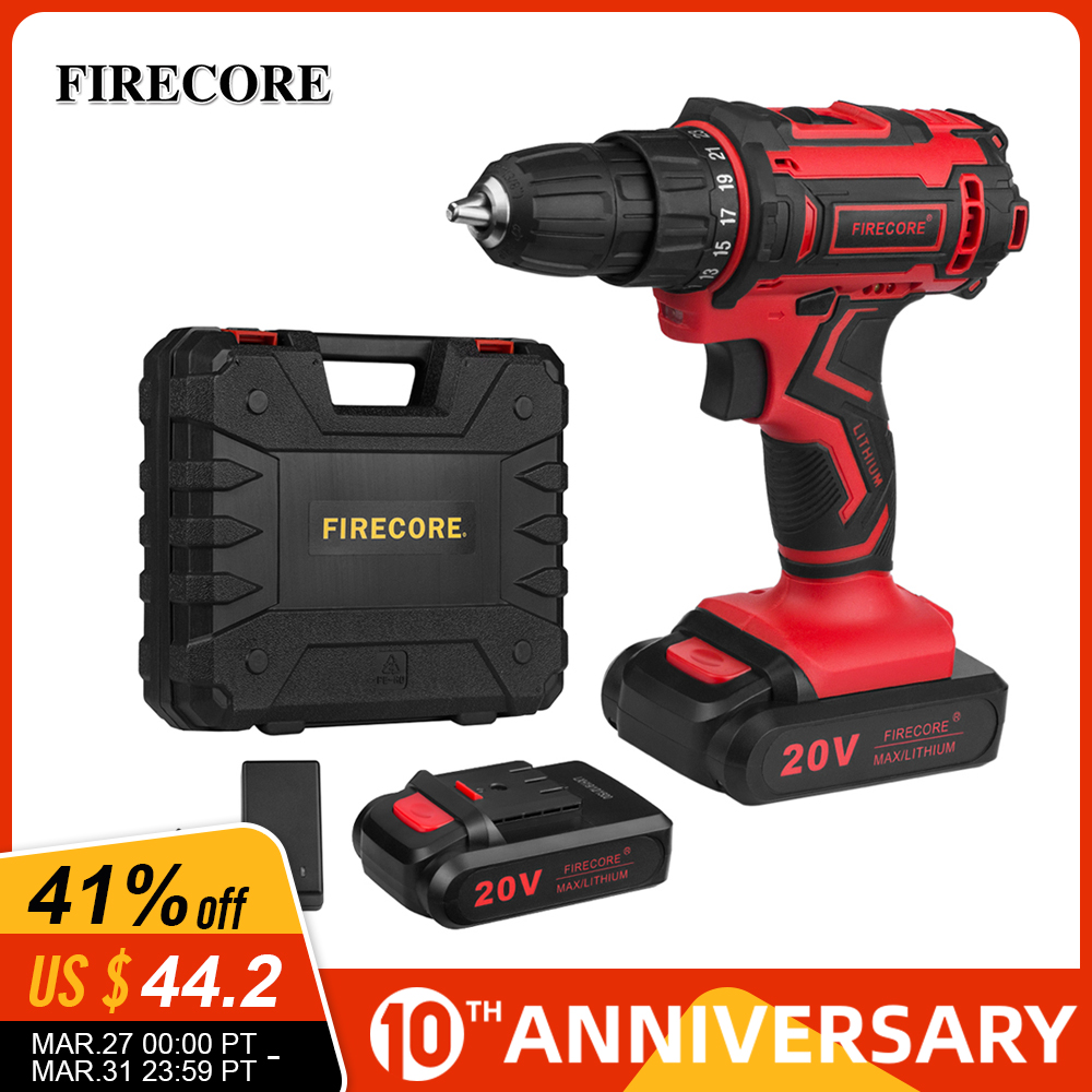 FIRECORE 20V FED-20A 2 Lithium Battery Electric Screwdriver Set Cordless Screwdriver Drill