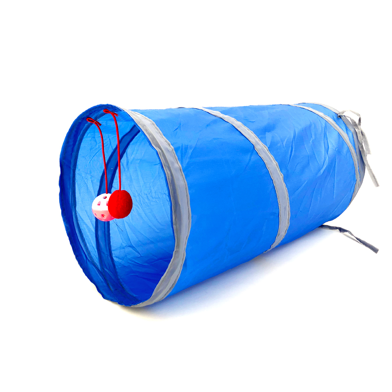 Juguete de túnel para mascotas, tubos de juego con 2 agujeros, bolas plegables, antiarrugas, para cachorros, hurones y conejos