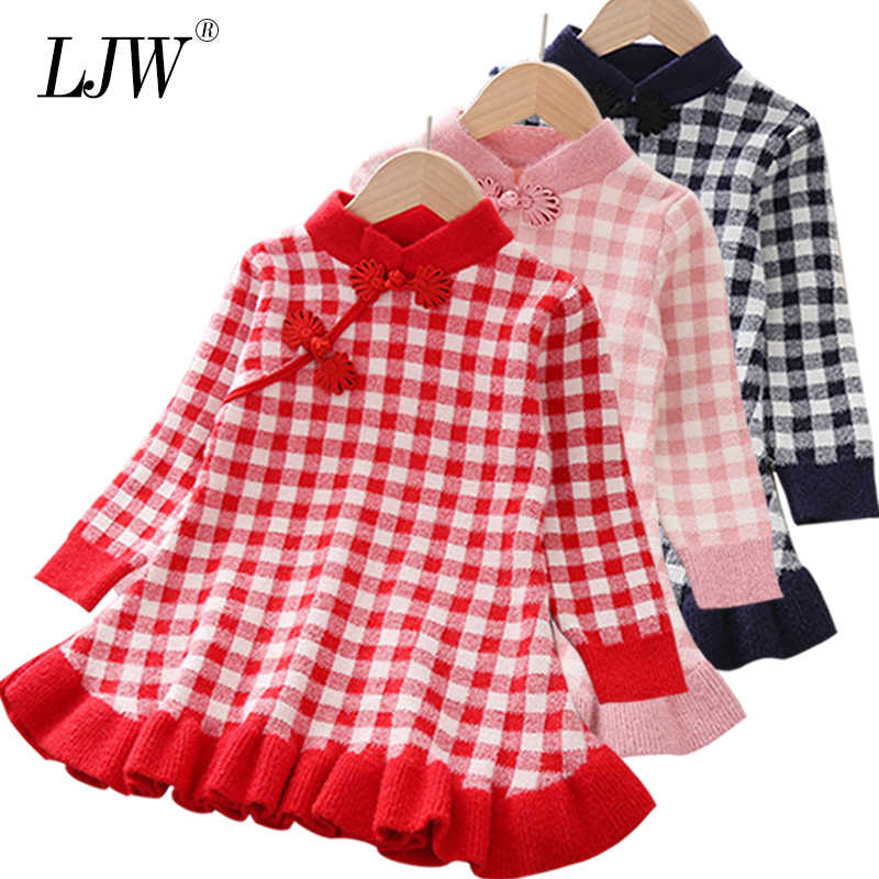 Baby Girls Dress for Warm Autumn winter lattice Long-Sleeve Knit Dress Girls Clothes Kids Dresses For Toddler costume