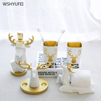 Nordic creative resin toothbrush holder soap dish bathroom accessories set kit wedding gifts craft room decoration deer figurine