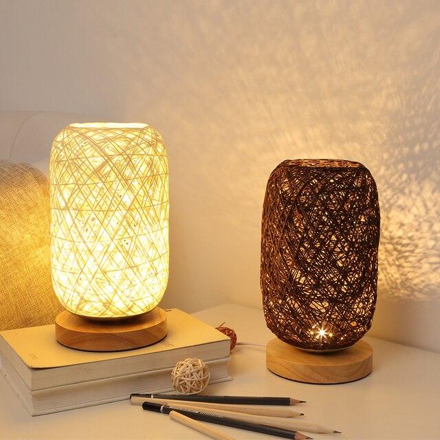 الخشب الروطان خيوط كرات إضاءة الجدول مصباح غرفة ديكور فني المنزل مكتب الخفيفة