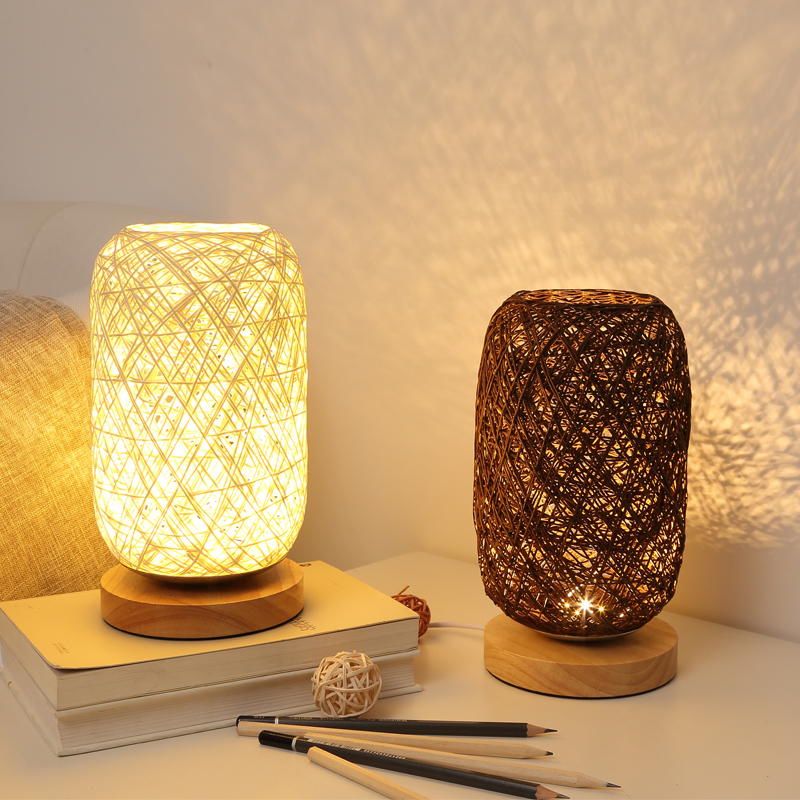 Wood Rattan Twine Ball Lights Table Lamp Room Home Art Decor Desk Light
