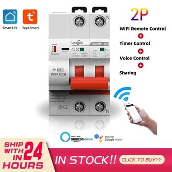 Interruptor de circuito inteligente Tuya 2P 16A-100A, WiFi, temporizador, Control remoto por voz, funciona con Alexa y Google Home 1