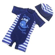 Baby Boy Swimwear Kids New Korea Sun-proof One-Piece Blue Fish Trunks Swimsuit+Hat 2pcs/Set 1 2 3 4 5 6year