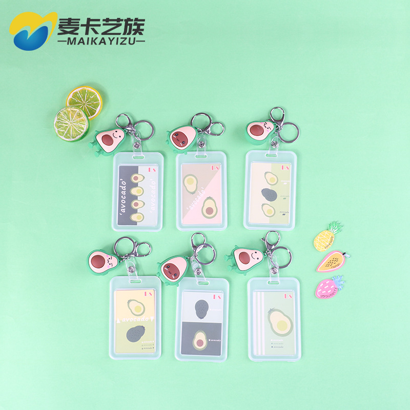 2019 Hot Sales Hot Selling Cute Avocado Hanging Decoration Transparent Card Holder Students Bus Card Badge Card Holder Certifica
