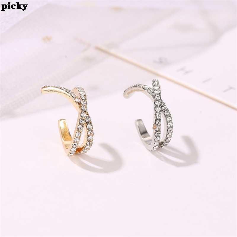 Vintage proste nausznice złota kryształowa nausznica nie przebite kolczyki kobiety klipsy Punk Rock Earcuffs Ear Jewelry