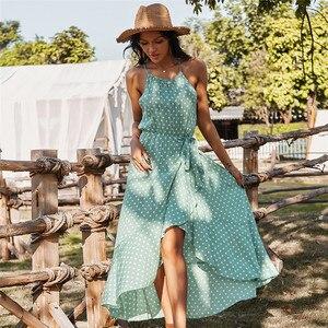 Элегантное женское платье в горошек на бретельках, облегающее длинное праздничное платье для весны и лета