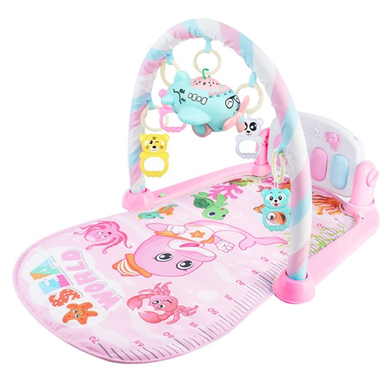Baby Activity Gym Children's Play Mat 0-12 Months Developing Carpet Soft Rattles Musical Toys Activity Rug For Babies Games,Pink