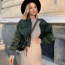 2020 세련 된 레이디 가을 겨울 za 녹색 짧은 자 켓 여성 패션 긴 소매 지퍼 폭탄 자 켓 outwear 여성 코트