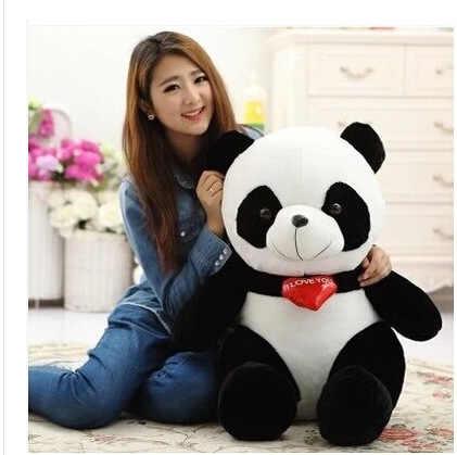 สีดำและสีขาวหมีตุ๊กตาหมีแพนด้าหมอนเด็กน่ารักหมีสาวเด็กตุ๊กตาของเล่นตุ๊กตาของขวัญวันวาเลนไทน์