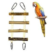 Игрушки для домашних животных Птицы Висячие скалолазание жевательные несколько игрушек красочная веревочка для птиц лестница деревянные качели для опционального попугая