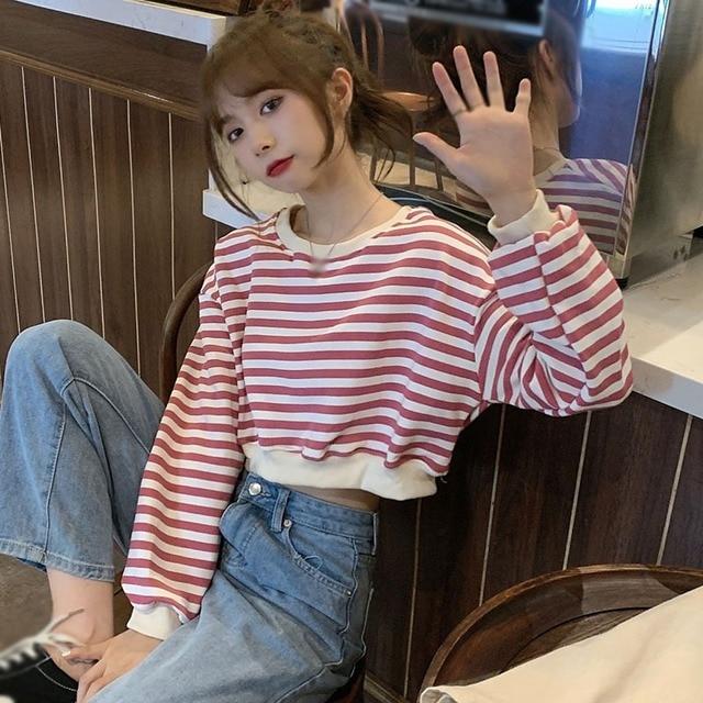 Купить женские футболки в стиле ретро полосатые топы с длинными рукавами картинки цена