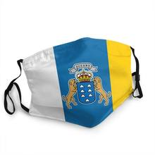 Bandeira de espanha oceano reutilizável máscara boca espanhol ilhas canárias anti poeira máscara de proteção respirador muffle