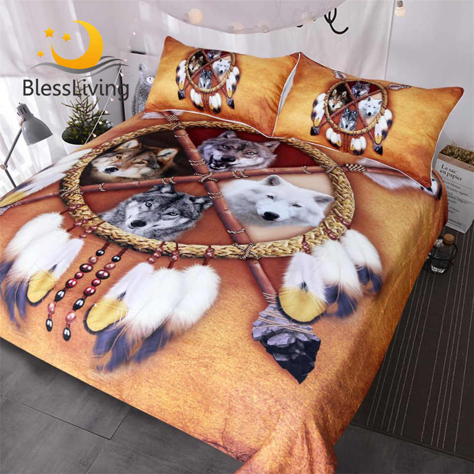 BlessLiving Wölfe Bettwäsche Set Königin Dreamcatcher Wolf Bettbezug Wilden Tier Bettwäsche 3D Print Tribal Tagesdecken Drop Schiff