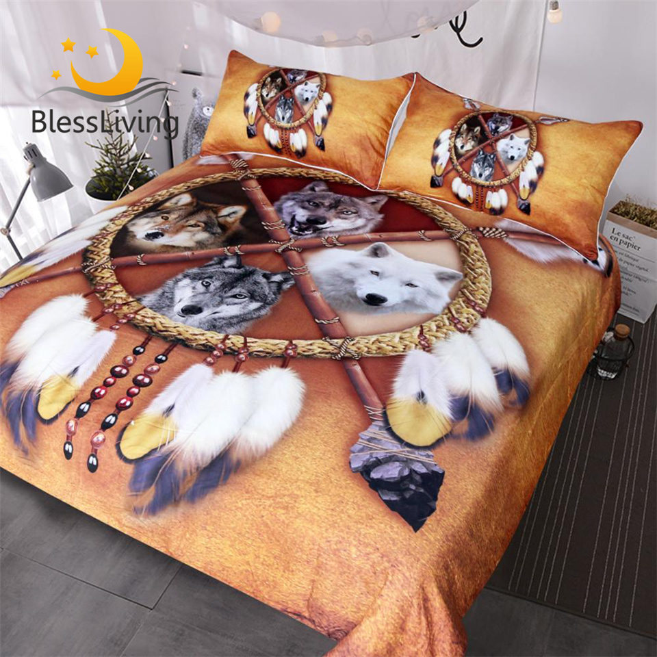 BlessLiving Wolves Bedding Set Queen Dreamcatcher Wolf Duvet Cover Wild Animal Bedclothes 3D Print Tribal Bedspreads Drop Ship