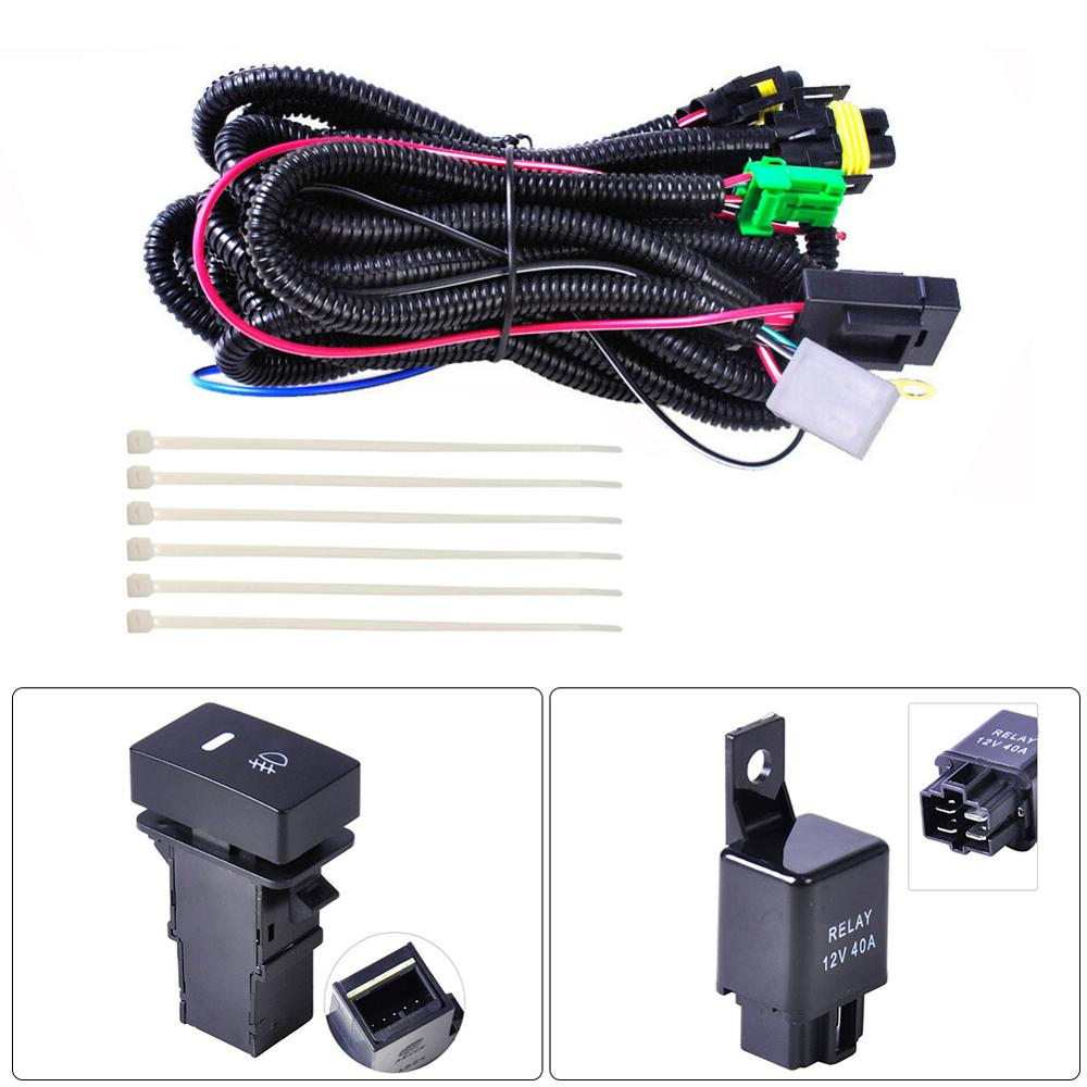 OLOMM New H11 Fog Light Lamp Wiring Harness Socket Wire Connector With 40A Relay & ON/OFF Switch Kits Fit LED Work Lamp