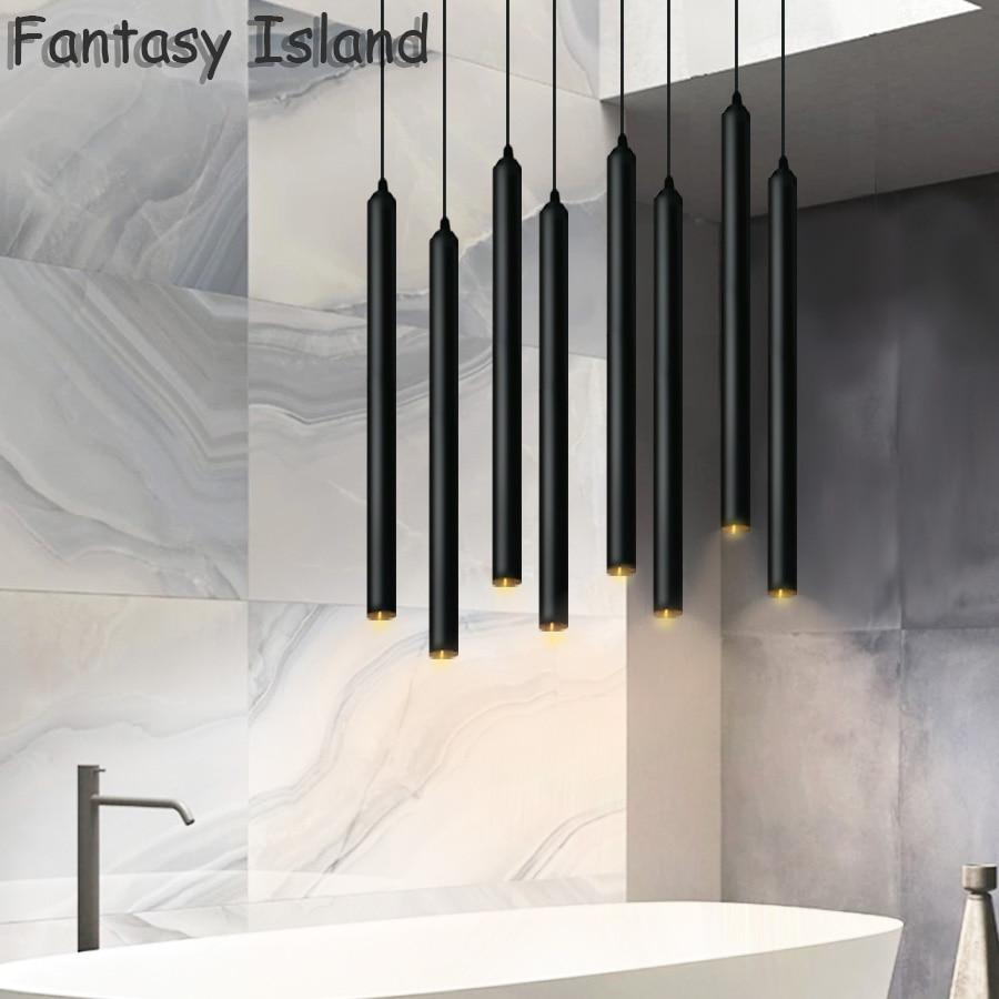 dining room tube pendant light hanging bar lamps lights lamp led