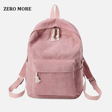 ZERO MORE Preppy Style Soft Fabric Backpack Female Corduroy Design School For Teenage Girls Striped Women