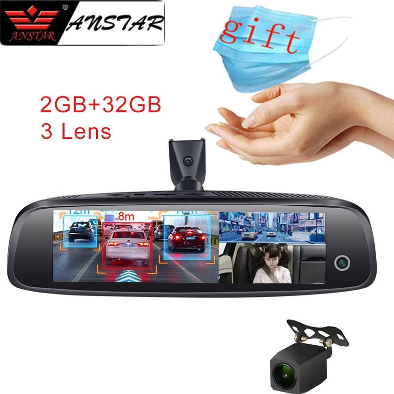 ANSTAR 8 ''2GB + 32GB lusterko wsteczne wideorejestrator samochodowy 4G Android kamera na deskę rozdzielczą 3 obiektyw HD 1080P noktowizor rejestrator GPS ADAS kamera samochodowa