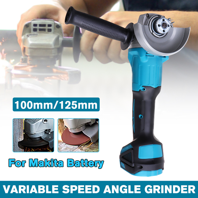 125/100mm 4 Speed Brushless Electric Angle Grinder Machine Woodworking Power Tool For 18V Makita Battery (Without battery)