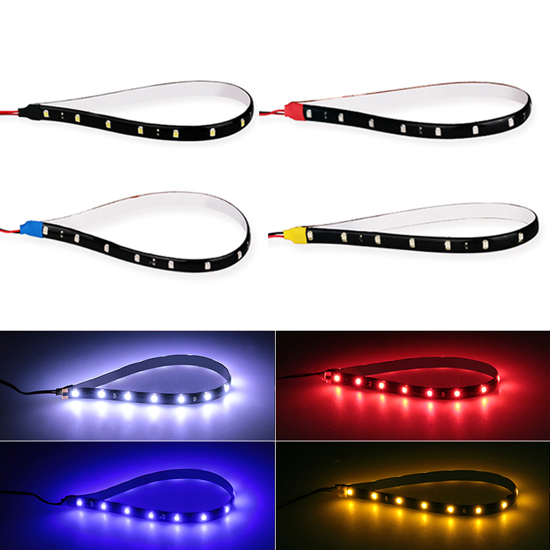 1x Car Led Strip DIY Bulb Atmosphere Decorative Lamp Auto Inerior Light 15LED Daytime Running Light DRL Motorcycle Styling Red