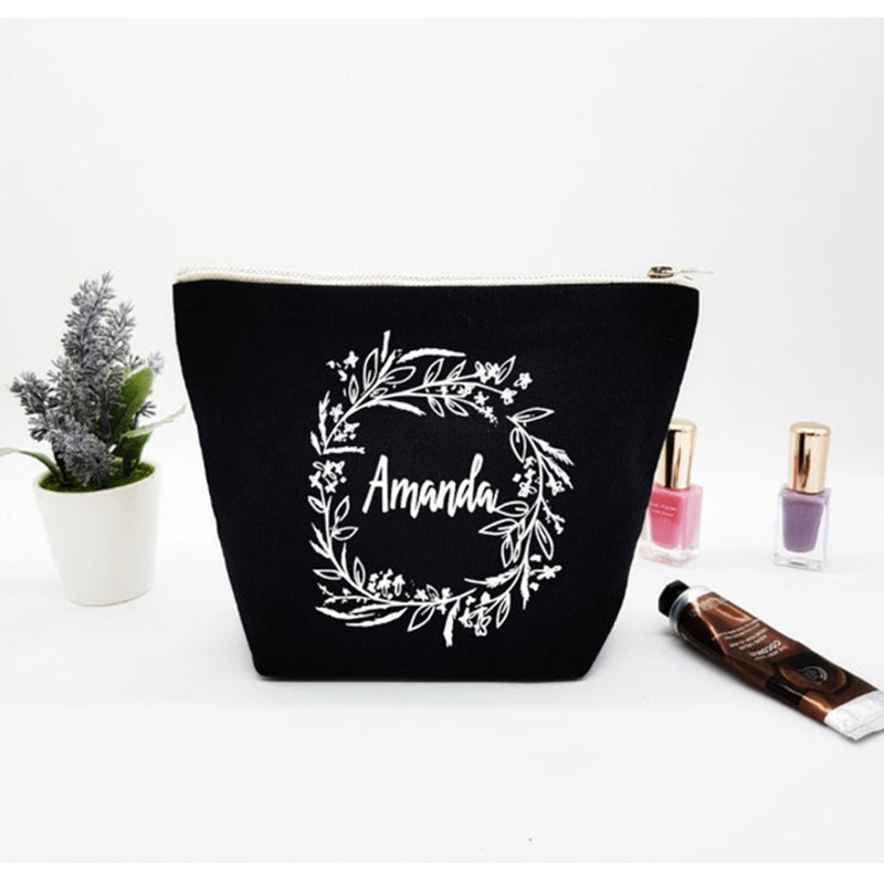 Bridesmaid Thank you Gift Personalized name Wedding Make up Bag Maid of Honor purse botanic Bridal Party Make up Cosmetic bags