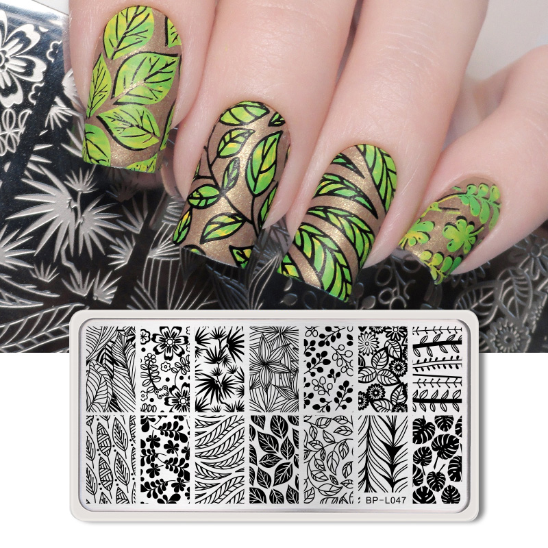 BORN PRETTY 12*6cm Rectangle Nail Stamping Template Leaf Design Manicure Nail Art Image Plate BP-L047