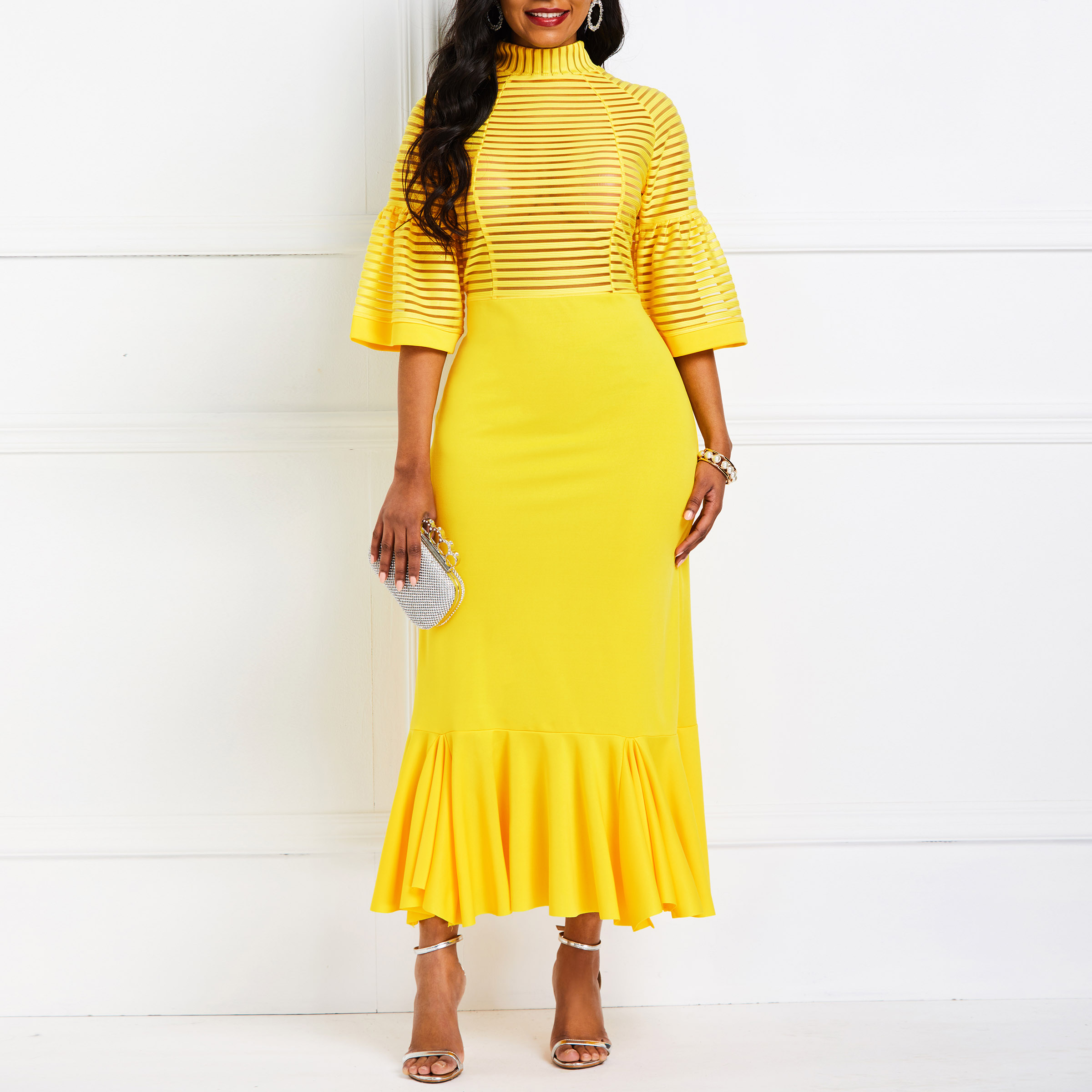 African Fashion Mid-Calf Patchwork Half Sleeve Pullover Mermaid Dresses Office Lady Sexy Elegant Retro Chic 2019 Women Hot Sale