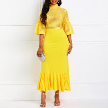 African Fashion Mid-Calf Patchwork Half Sleeve Pullover Mermaid Dresses Office Lady Sexy Elegant Retro Chic 2019 Women Hot Sale(China)