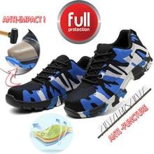 NMSafety ביטוח עבודה לנקב הוכחת עבודה סניקרס Mens בטיחות נעלי פלדת הבוהן כובע Camo אביב לנשימה רשת מזדמן נעל