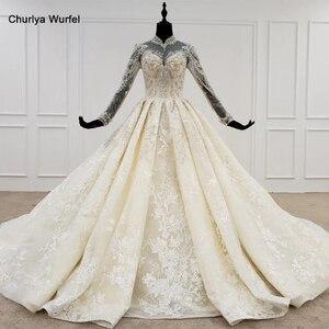 Image 1 - HTL1094 אלגנטי חתונת שמלות לבנון גבוהה צוואר מלא שרוול כדור שמלת אפליקציות תחרת הכלה שמלת שמלת ארוך רכבת gelinlikler