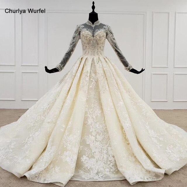 HTL1094 אלגנטי חתונת שמלות לבנון גבוהה צוואר מלא שרוול כדור שמלת אפליקציות תחרת הכלה שמלת שמלת ארוך רכבת gelinlikler