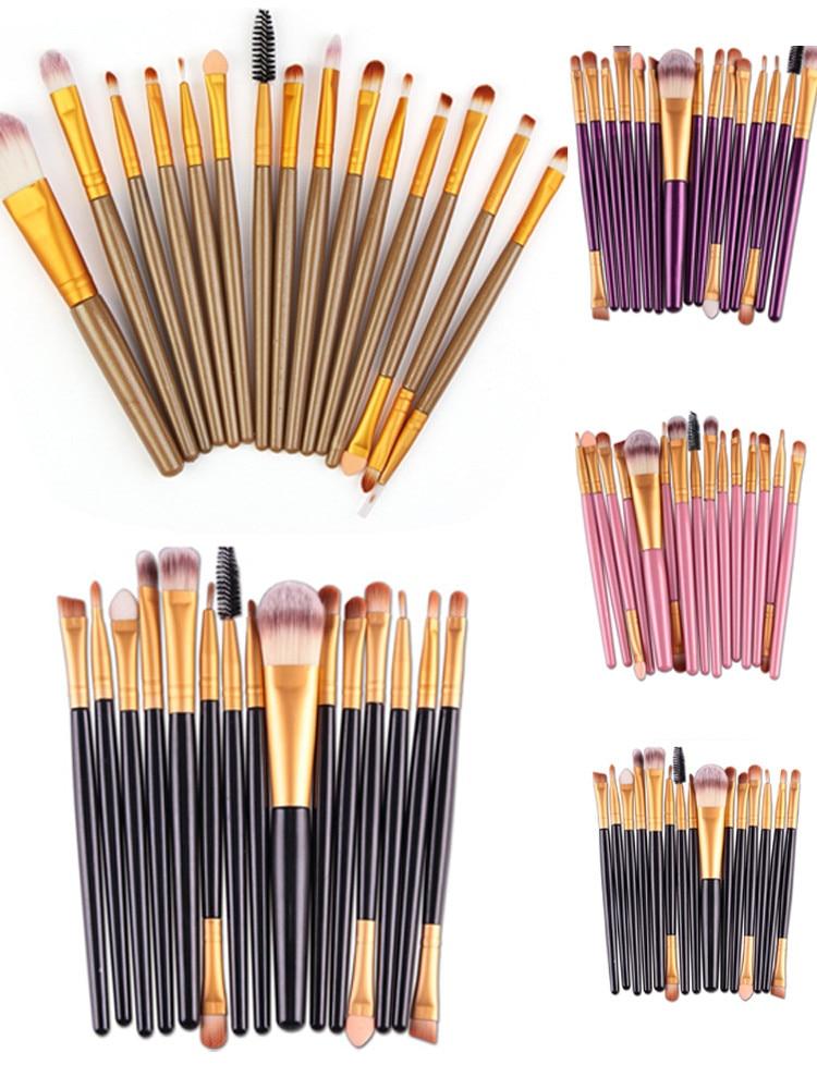 15 шт., модные косметические кисти, Профессиональные кисти для макияжа с деревянной ручкой, пудра, тени для век, подводка для глаз, кисть для г...