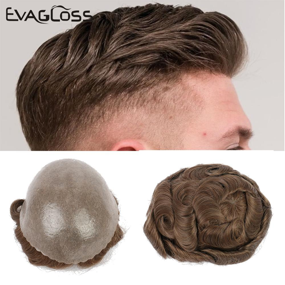 EVAGOLSS Mens Toupee 0.12-0.14mm Thin Skin Natural Human Hair Men's Wig Prosthetic Hair Replacement System For Mens