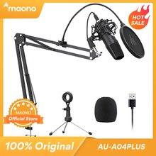 Maono A04Plus usbマイクコンデンサーポッドキャストmicrofono 192 125khz/24bitプラグアンドプレイlivestreamingためyoutube asmr