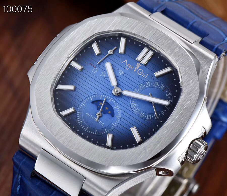 Luxury Brand New Automatic Mechanical Men Watch Sapphire Silver Transparent Glass MoonPhase Watches White Blue Daydate Grey AAA+