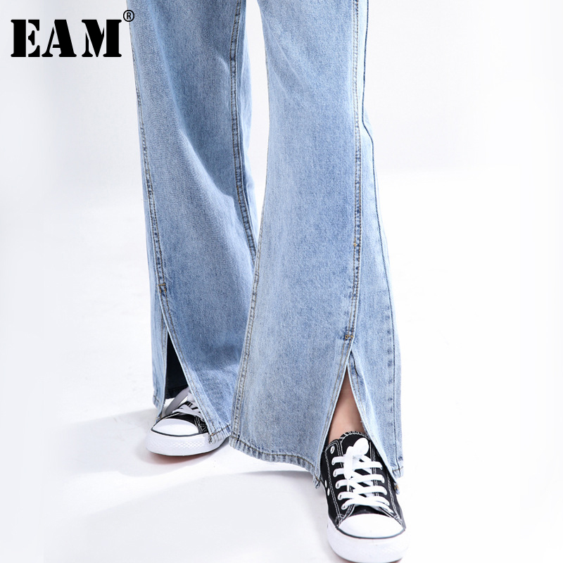 [EAM] Htem Vent Split Long Denim Wide Leg Jeans New High Waist Loose Women Trousers Fashion Tide Spring Autumn 2020 1T057
