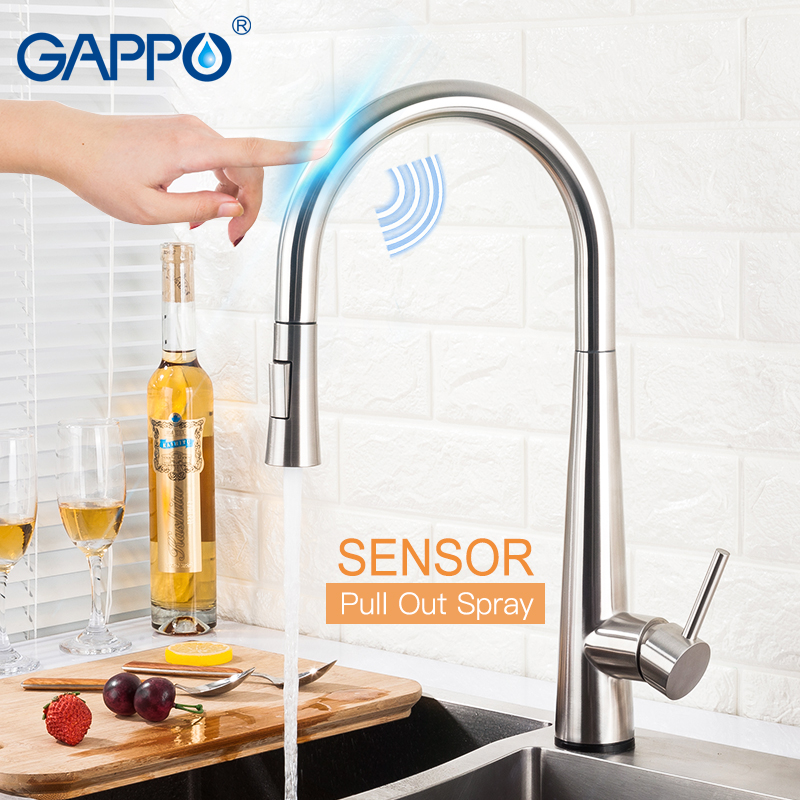 GAPPO Sensor Kitchen Faucets Smart Touch Inductive Sensitive Faucets Mixer Water Tap Single Handle Pull Out Kitchen Faucets