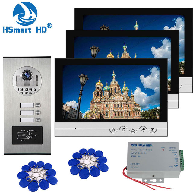 9 inch Home Video Interphone Doorphone Bell Kits Home Families Door Inductive Card Camera with 2 / 3 Monitor Intercom Systems